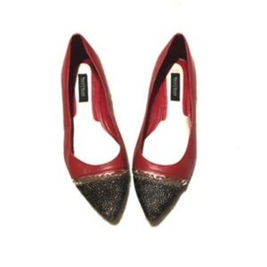 White House black market pointed flats red 8